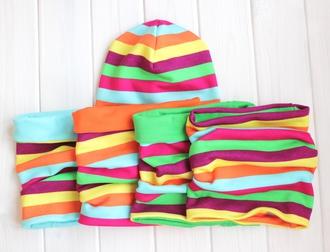 Оригинальный комплект - шапка с шарфом - Радуга