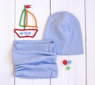 Оригинальный комплект - шапка с шарфом - Сирень