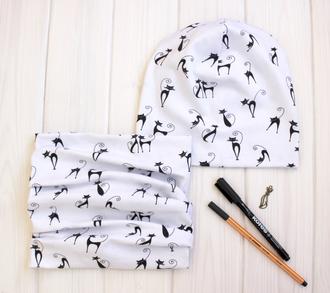 Оригинальный комплект - шапка с шарфом - Черно-белая кошка