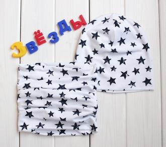 Оригинальный комплект - шапка с шарфом - Белые звезды