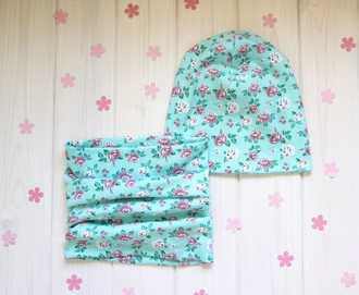 Оригинальный комплект - шапка с шарфом - Бирюзовая роза