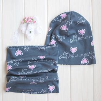 Оригинальный комплект - шапка с шарфом - Розовые сердца/серый