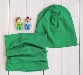 Оригинальный комплект - шапка с шарфом - Зеленый