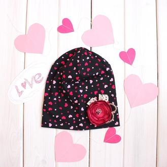 Оригинальный комплект - шапка с шарфом - Сердечки на темном