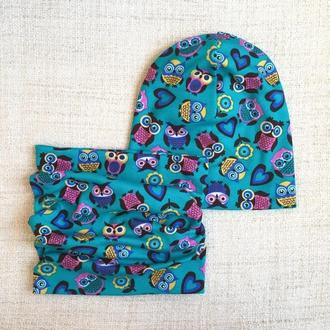 Оригинальный комплект - шапка с шарфом - Бирюзовые совы