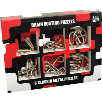 """Настольная игра 1037 Набор из 6 головоломок из металла """"Зарядка для мозга"""" 530501"""