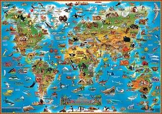 Настольная карта мира для детей Животные